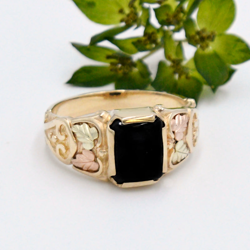 10k Multi Colored Gold Ornate Onyx & Leaf Design Nature Ring Size 12