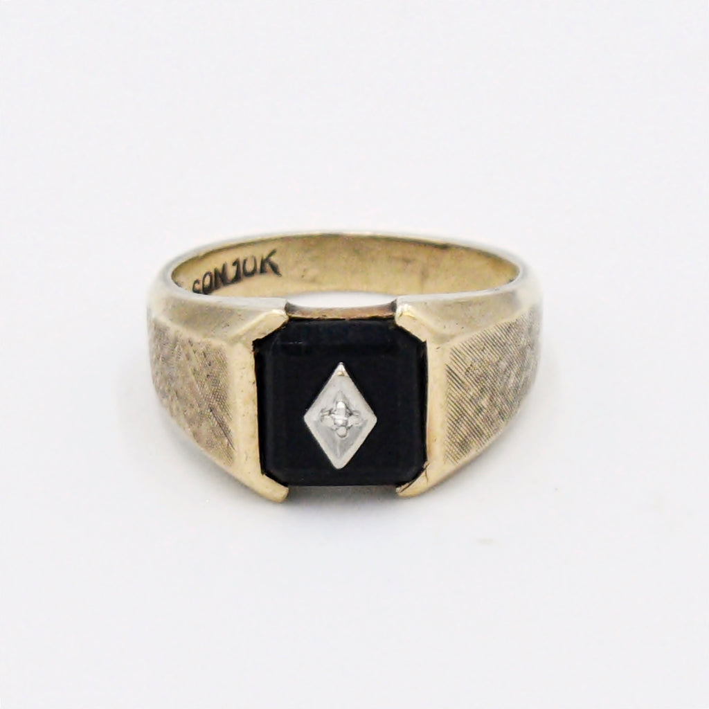 10k Yellow Gold Antique Diamond & Black Onyx Ring Size 10.75