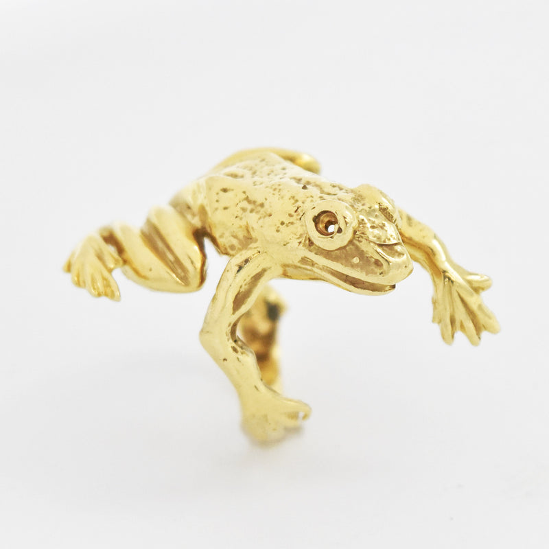 14k Yellow Gold Estate Textured Jumping Frog Ring Size 7