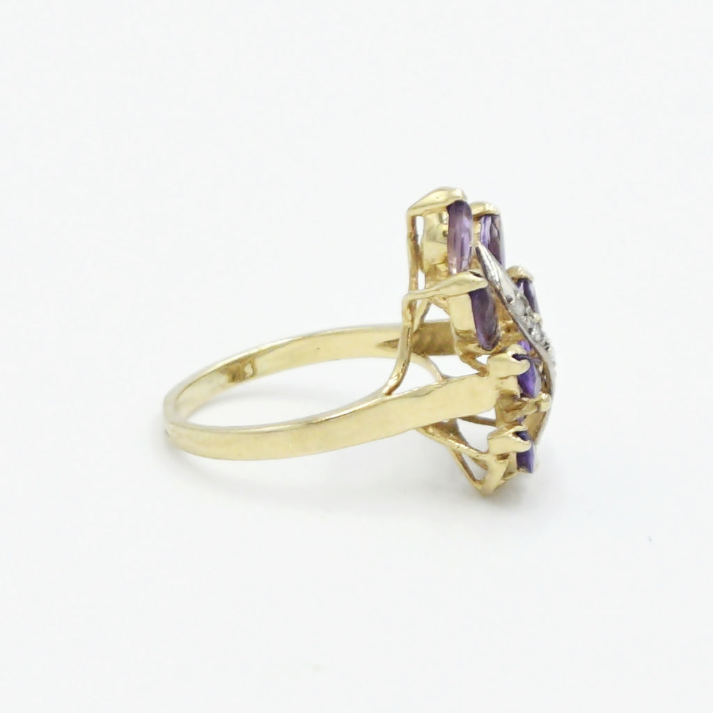 14k Yellow Gold Estate Leaf Design Amethyst & Diamond Ring Size 6
