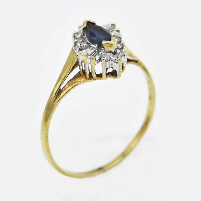 10k Yellow Gold Estate Sapphire & Diamond Ring Size 7.25