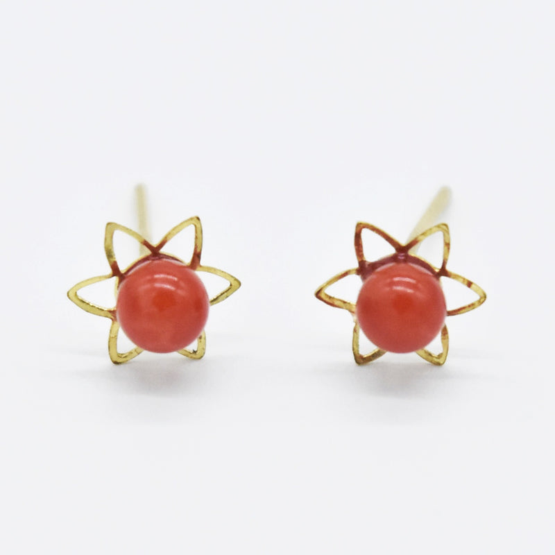 14k Yellow Gold Estate Coral Post Earrings