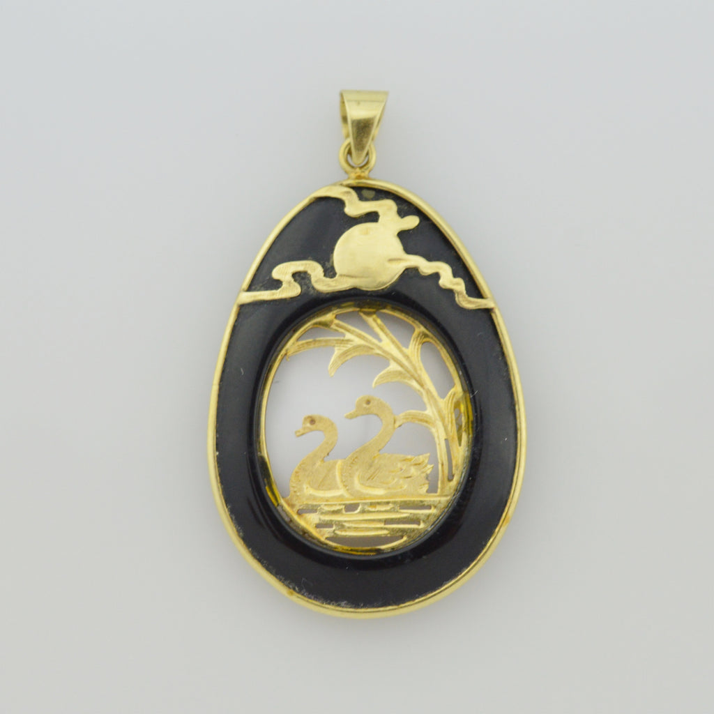 14k Yellow Gold Estate Oval Black Onyx Swans Animal Pendant