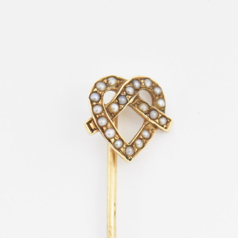 "14k Yellow Gold Antique 2.25"" Seed Pearl Stick Pin"