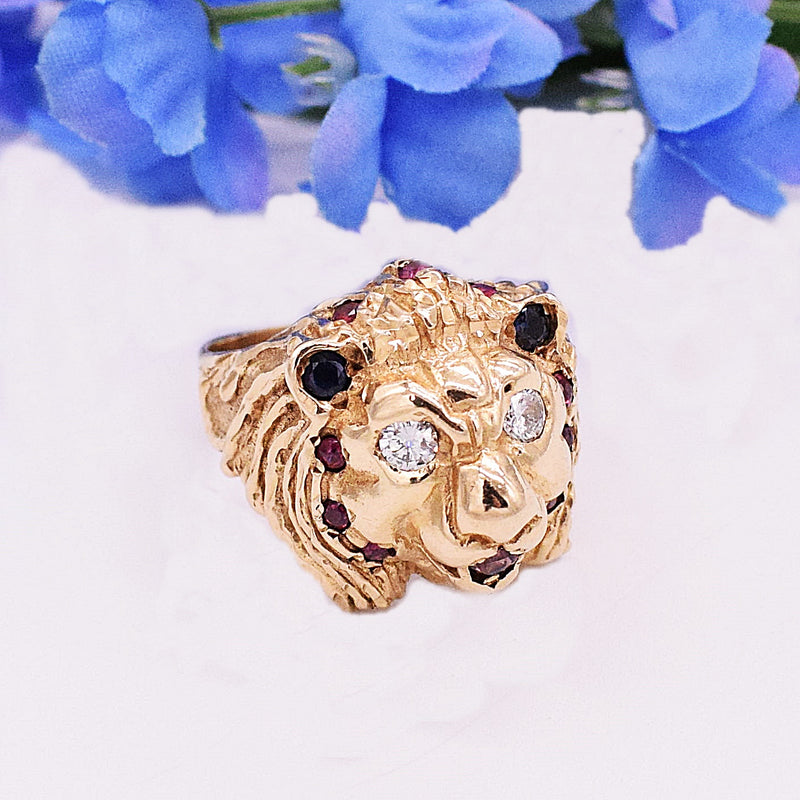 14k YG Carved Diamond, Sapphire & Ruby Lion Ring Size 9.75