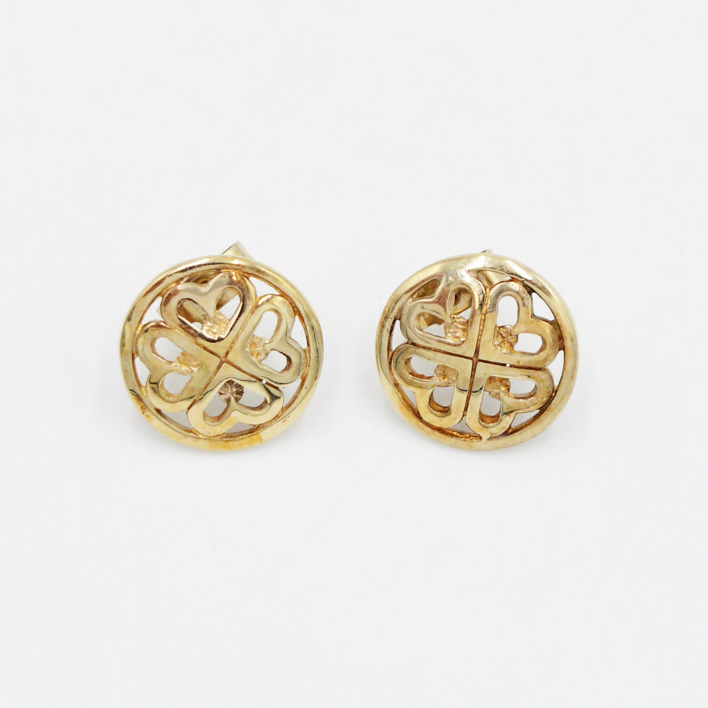 9k/9ct Yellow Gold Estate 4/Four Leaf Clover Lucky Circle Earrings