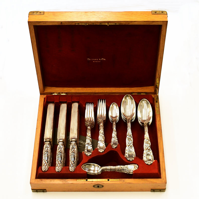 Sterling Tiffany & Co Chrysanthemum Japonesque Pattern Flatware 48 Pce