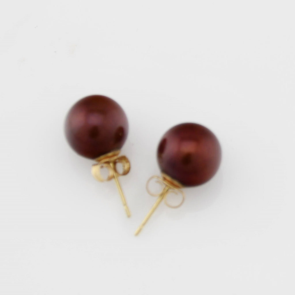 14k Yellow Gold Estate Chocolate Pearl Post Earrings