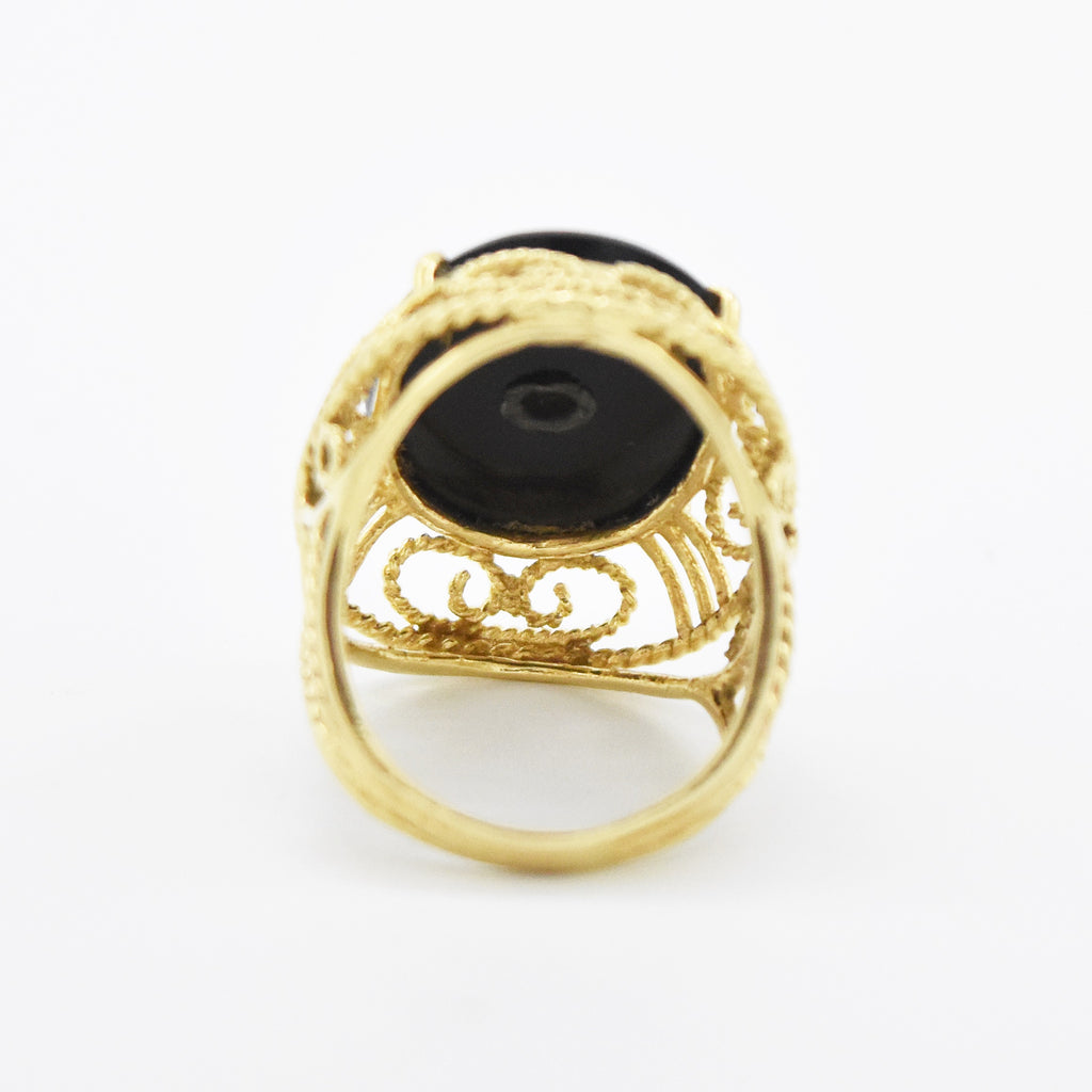 14k Yellow Gold Filigree Oval Black Onyx & Fire Opal Ring Size 8.5