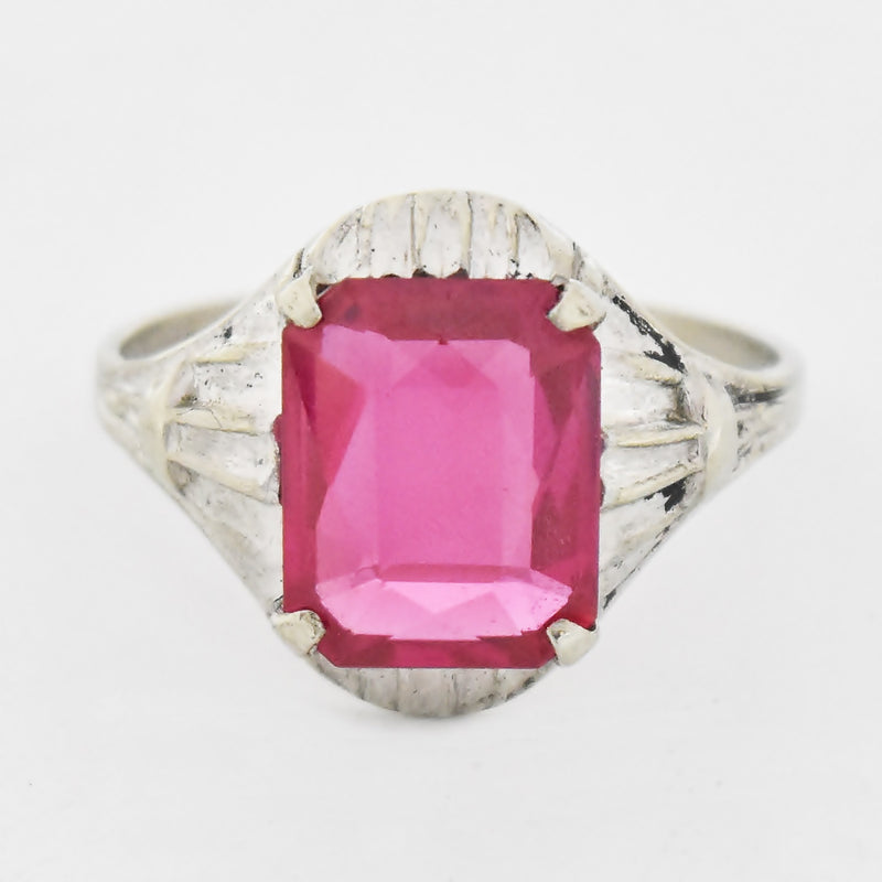 10k White Gold Vintage Carved Ruby Ring Size 7