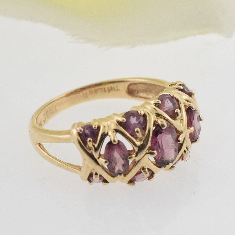 14k YG Open X Amethyst Band/Ring Size 7