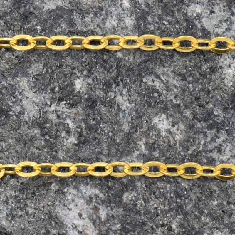 "14k Yellow Gold Estate Rolo Link Chain/Necklace 16"" Long"