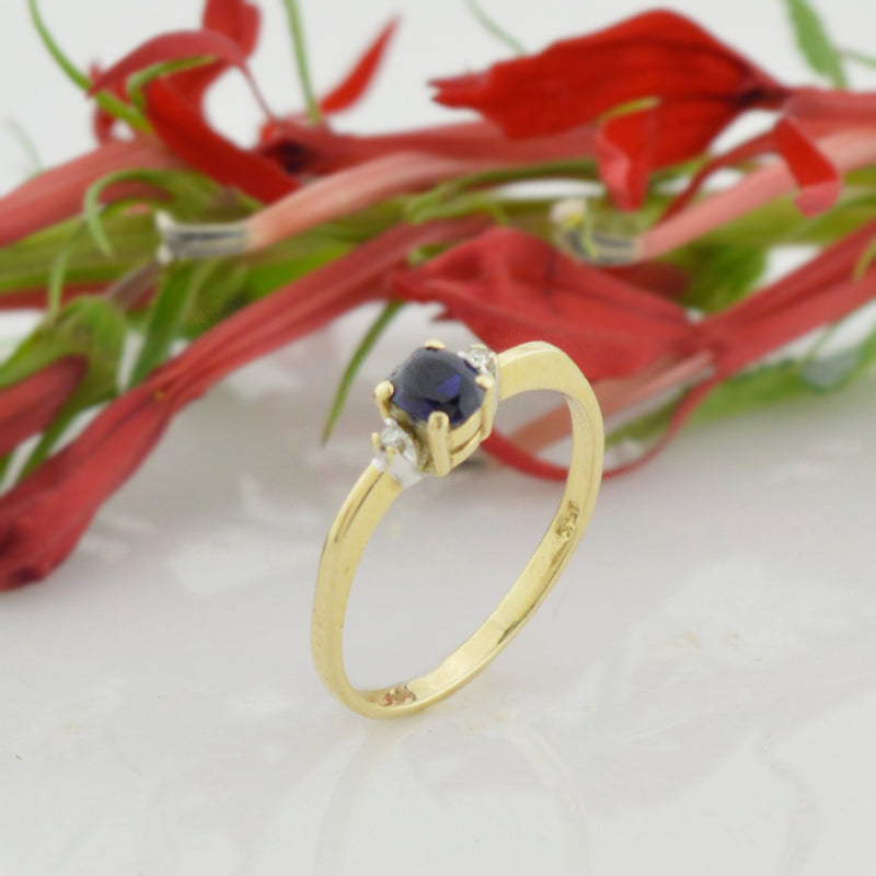 14k Yellow Gold Estate Dark Blue Topaz & Diamond Ring Size 6.5