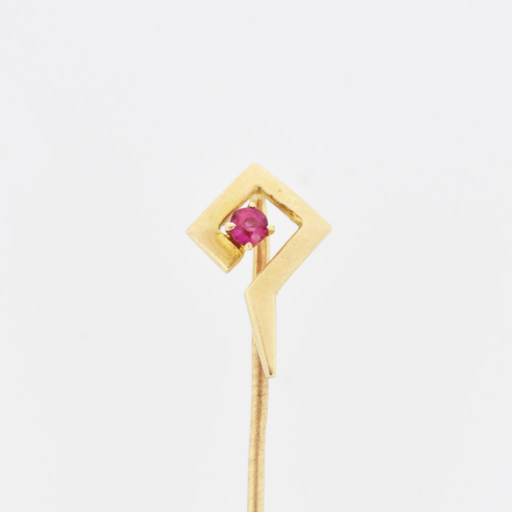 14k Yellow Gold Vintage Abstract Ruby Stick Pin