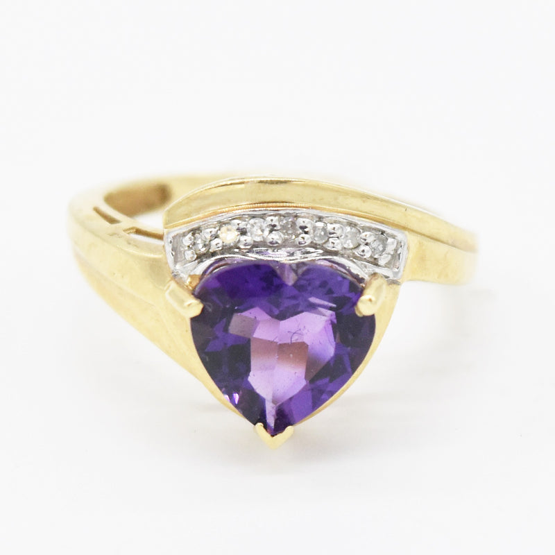 10k Yellow Gold Estate Heart Shape Amethyst & Diamond Ring Size 7.25
