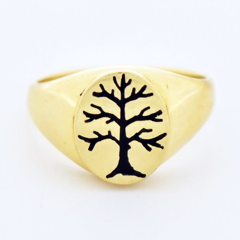 14k Yellow Gold Estate Enamel Tree of Life Ring Size 6.5