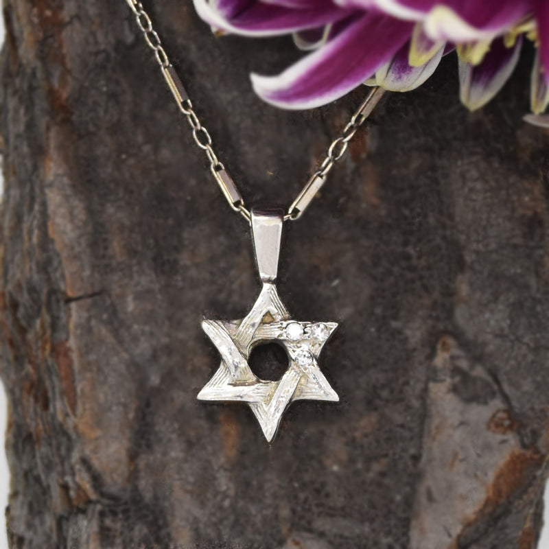 "14k WG 16 1/2"" Bar Link Diamond Jewish Star Of David Necklace"