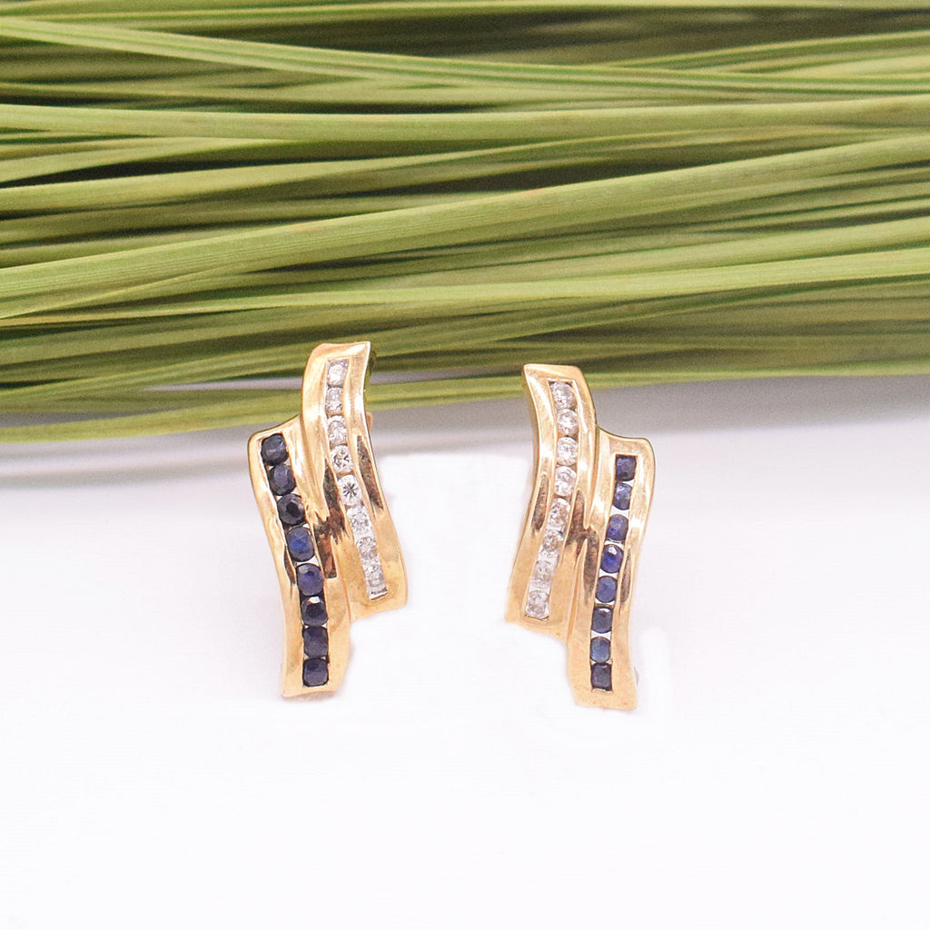 10k YG Swirl Chanel Set Diamond & Sapphire Post Earring