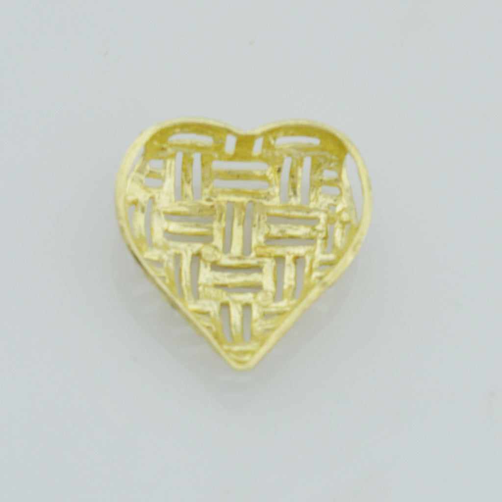 10k Yellow Gold Estate Diamond Cut Open Work Love Heart Pendant