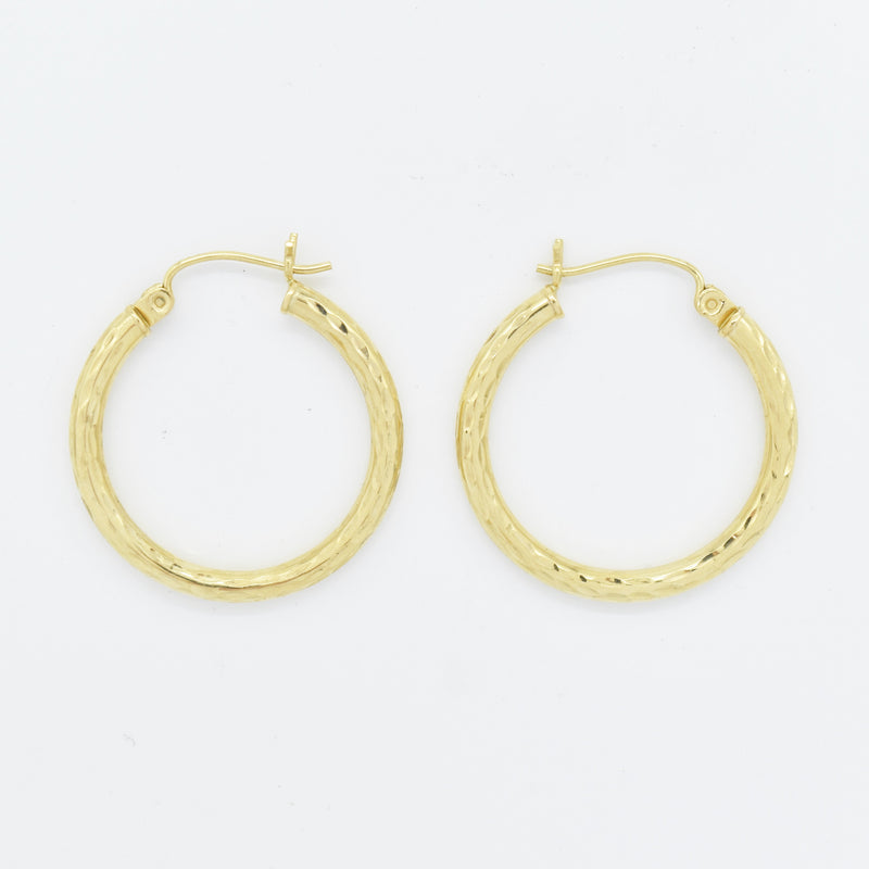 "14k Yellow Gold Estate Diamond Cut 1"" Round Hoop Earring"