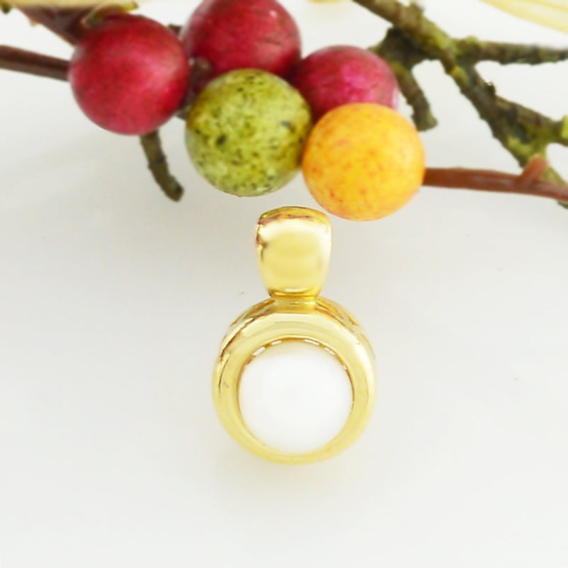 14k Yellow Gold Estate 7.0 mm Pearl Pendant