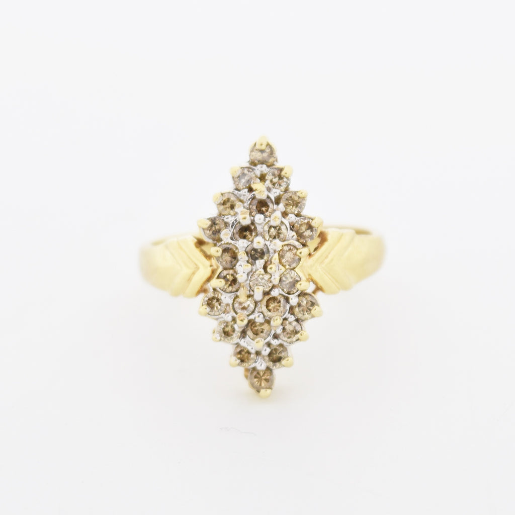 10k Yellow Gold Estate Diamond Cluster Cocktail Ring Size 9.25