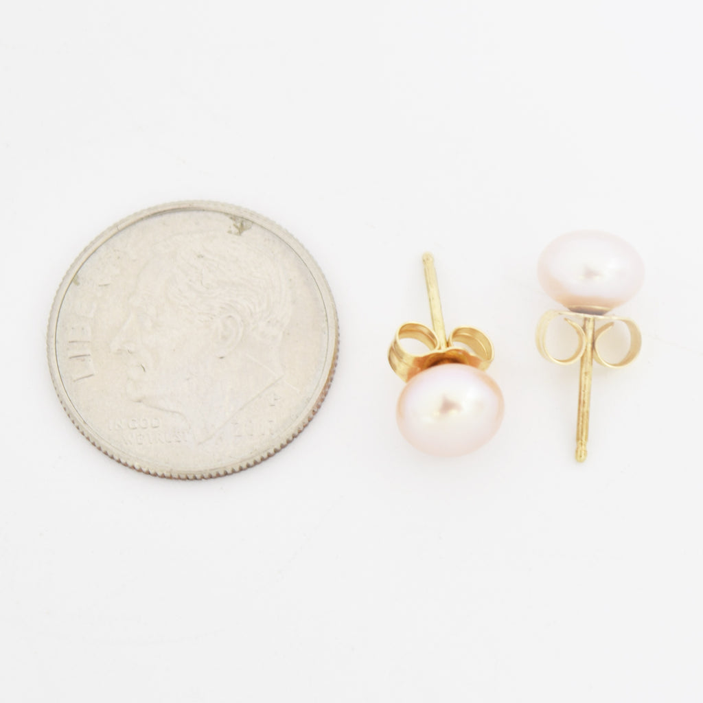 14k Yellow Gold Estate Pink Pearl Post Earrings