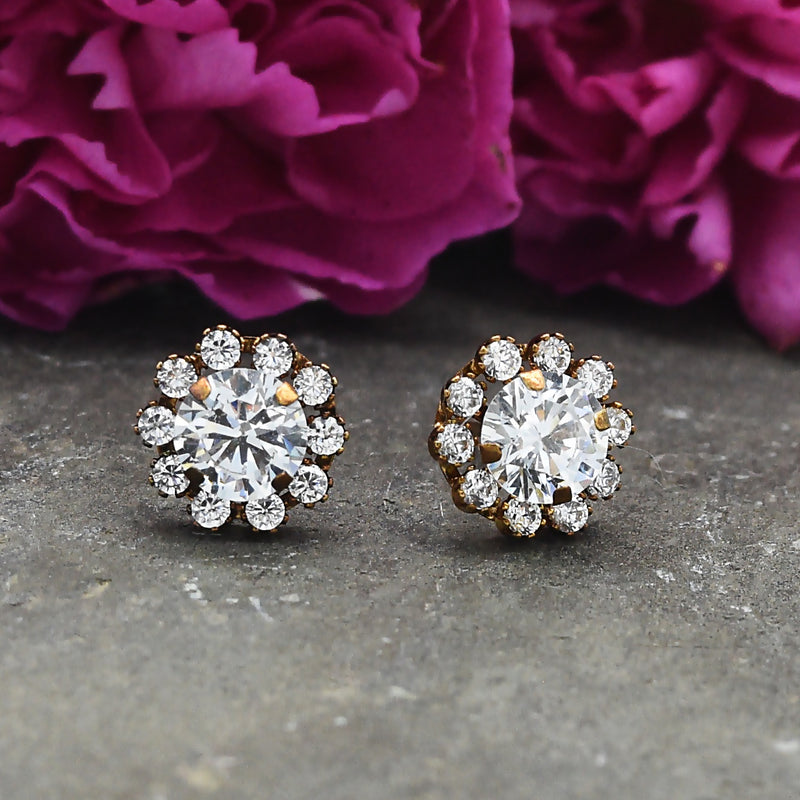 10k Yellow Gold Estate Halo Setting CZ Post Earrings