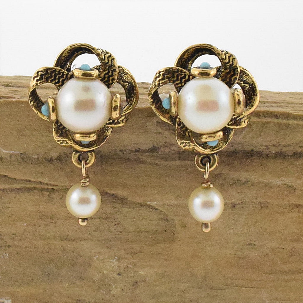 14k YG Ornate Pearl & Turquoise Post Earrings