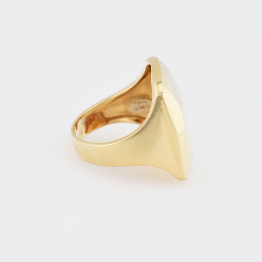 14k Yellow Gold Vintage Hammered Mid Century Modern Ring Size 8.25