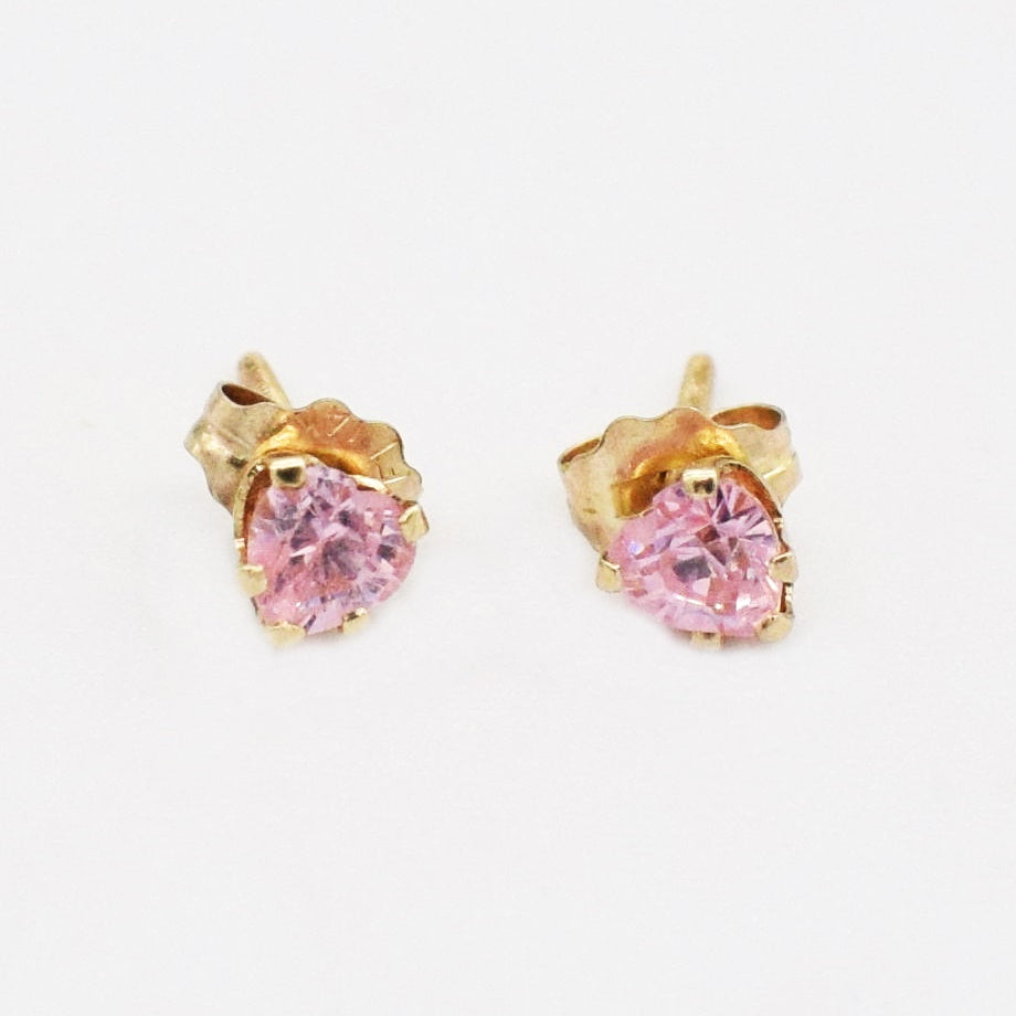 14k Yellow Gold Estate Pink CZ Heart Post Earrings