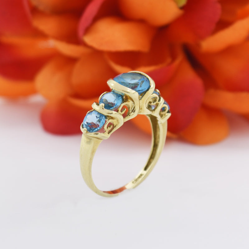 10k Yellow Gold Estate 5 Stone Blue Topaz Tier Ring Size 10