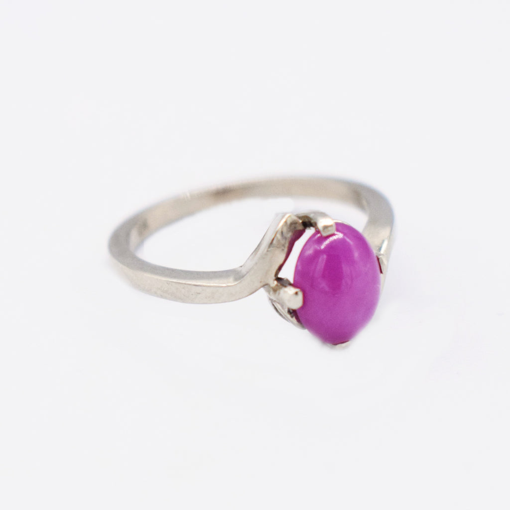 10k White Gold Estate Swirl Purple Star Sapphire Ring Size 6