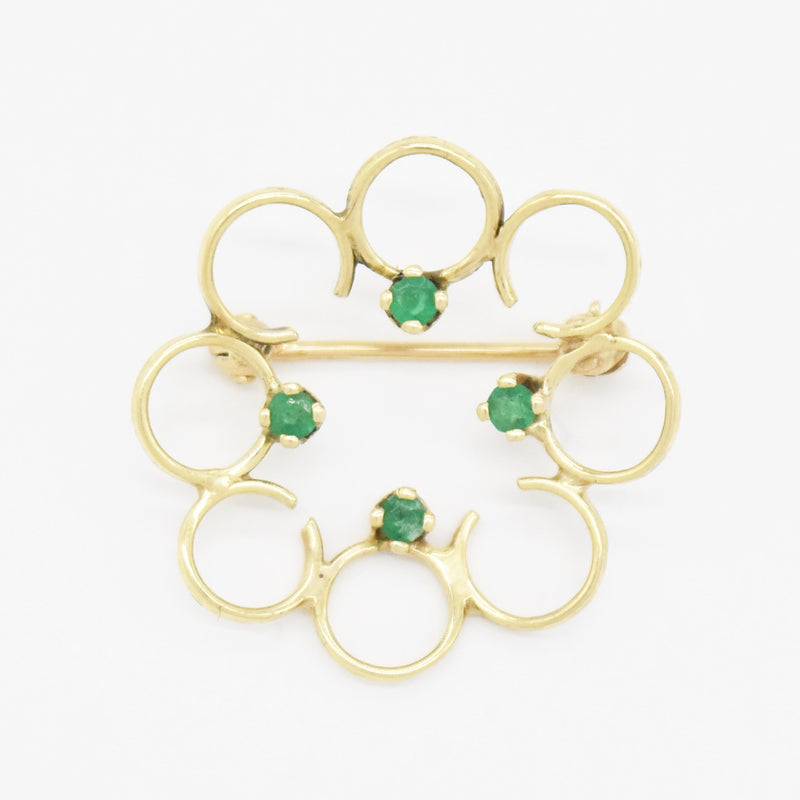 14k Yellow Gold Estate Emerald Open Circle Pin/Brooch