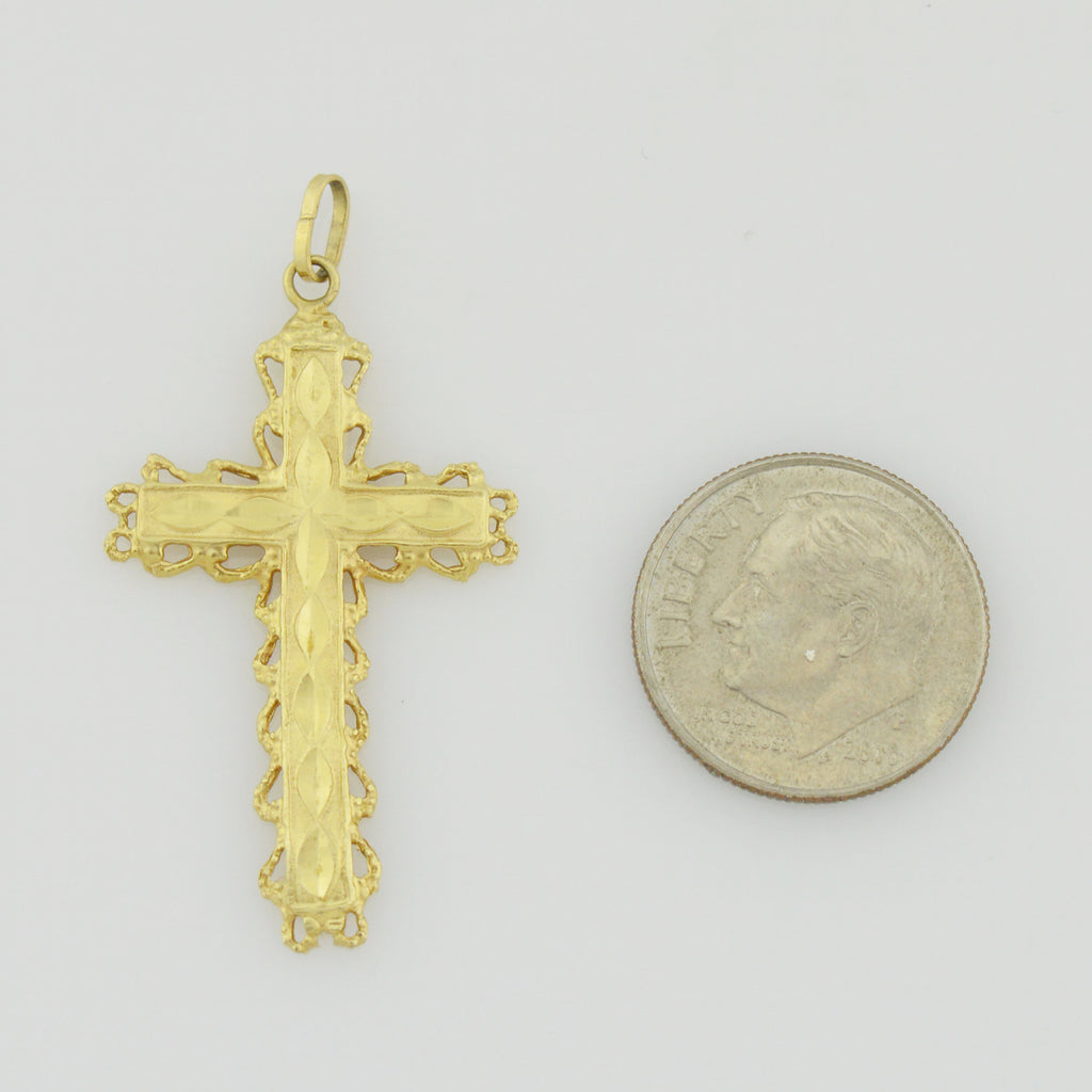 14k Yellow Gold Estate Diamond Cut Cross Religious Pendant