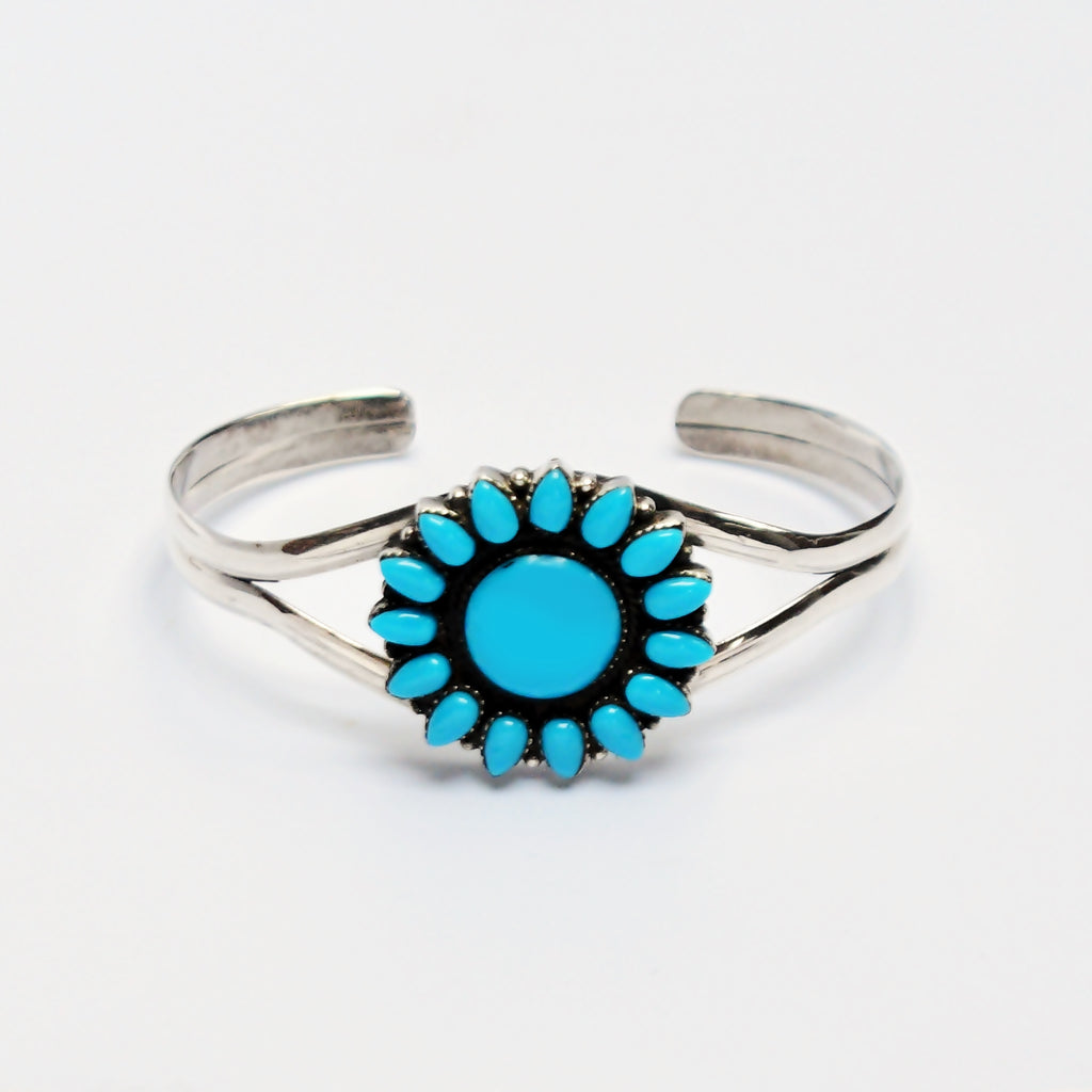 NEW Sterling Silver Zuni Style Turquoise Cluster Flower Cuff Bracelet
