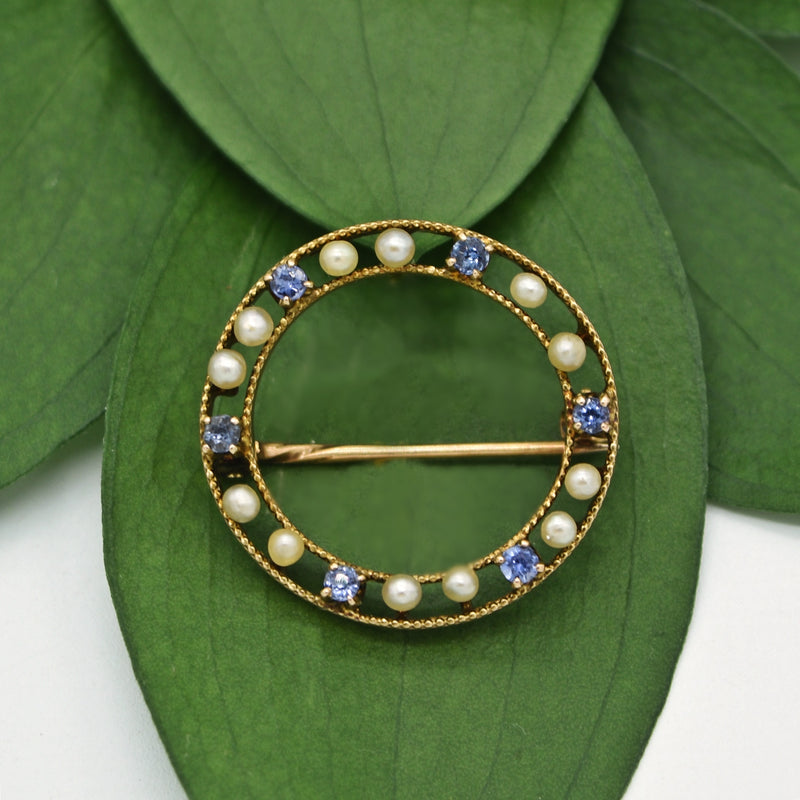 10k Yellow Gold Antique Open Circle Pearl & Sapphire Pin
