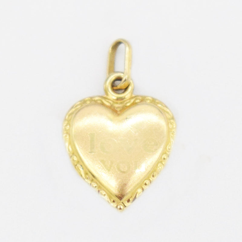 14k Yellow Gold Estate Textured I Love You Heart Pendant/Charm