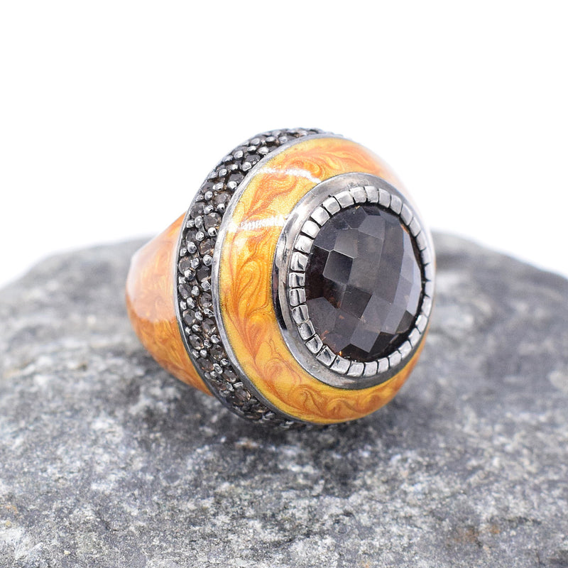 Sterling Silver SKJ Enamel Smokey Quartz Cocktail Ring Size 6