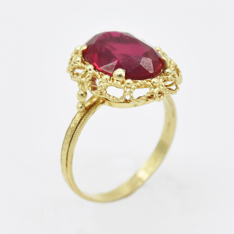 14k Yellow Gold Estate Fancy Oval Ruby Cocktail Ring Size 8