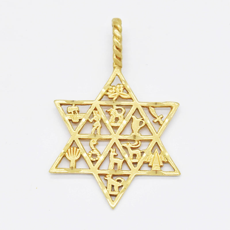 14k Yellow Gold Estate Star of David 12 Tribes Religious Pendant