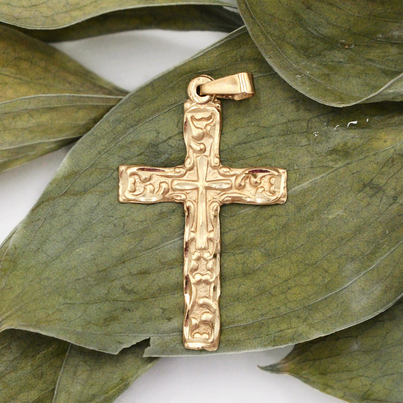 14k Yellow Gold Estate Ornate Textured Cross Religious Pendant