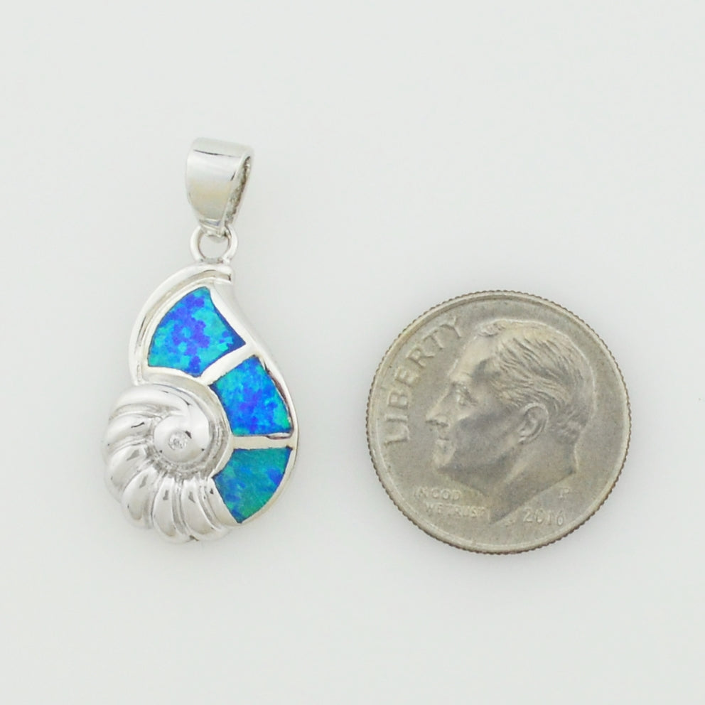 NEW Sterling Silver 925 Blue Opal & CZ Seashell/Sea Shell Pendant