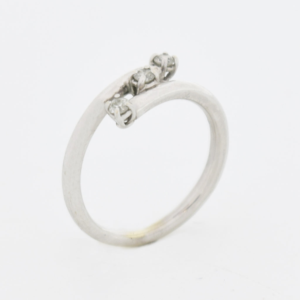 14k White Gold Estate Three Stone Diamond Wrap Statement Ring Sz 6.25