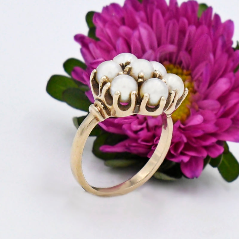 10k Yellow Gold Estate 4.5 mm Pearl Cluster Ring Size 6