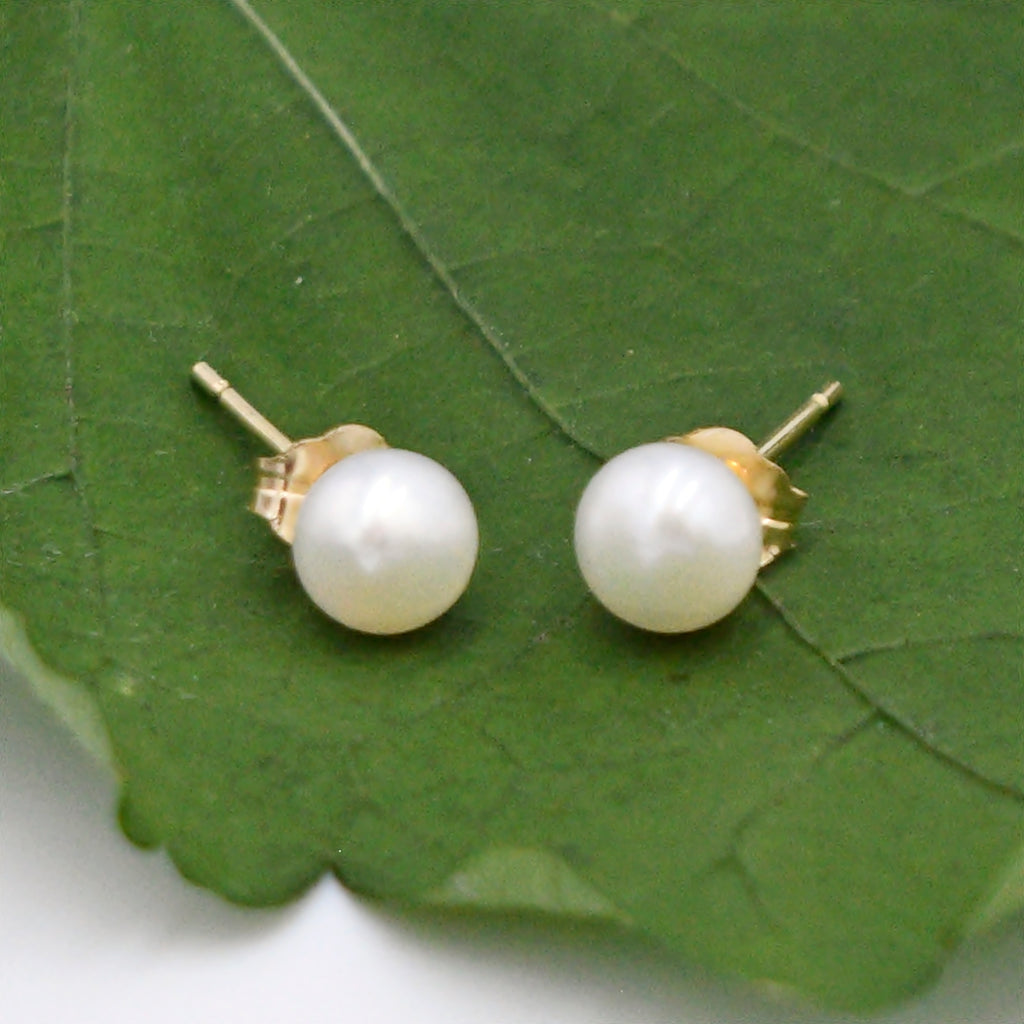 14k Yellow Gold Estate Pearl 5.0 mm Post Earrings