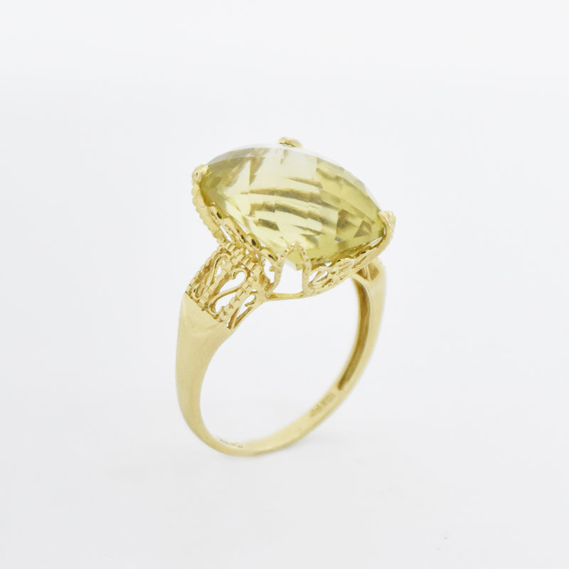 10k Yellow Gold Filigree Large Citrine Cocktail Ring Size 10