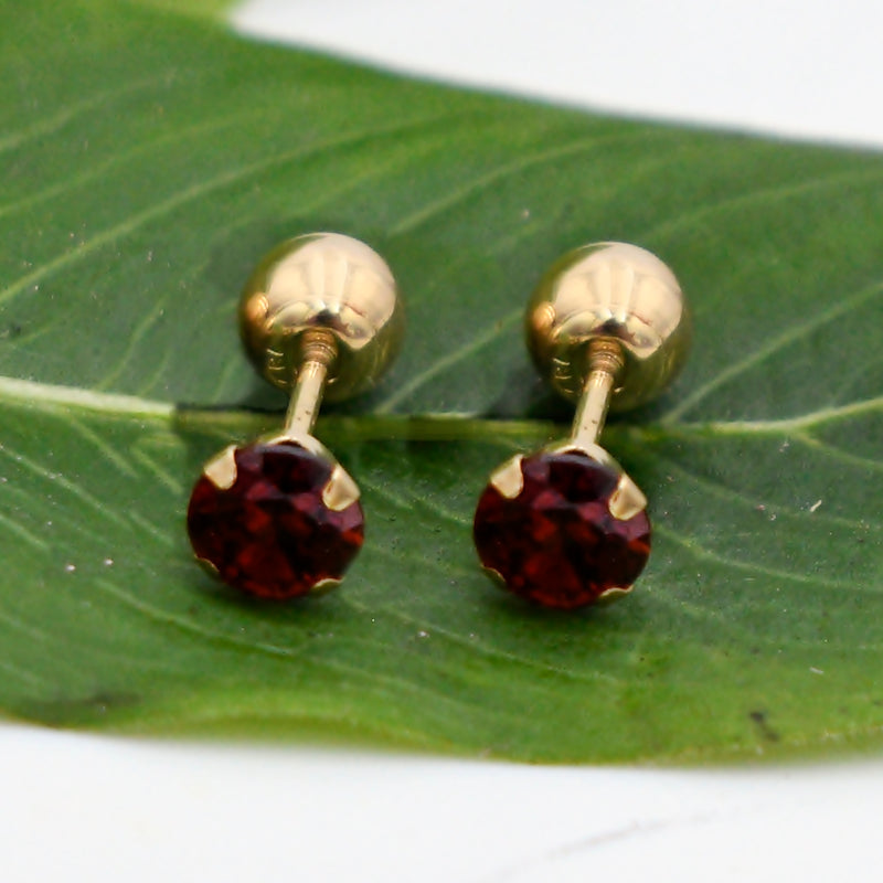 14k Yellow Gold Estate Garnet Gemstone Post Earrings