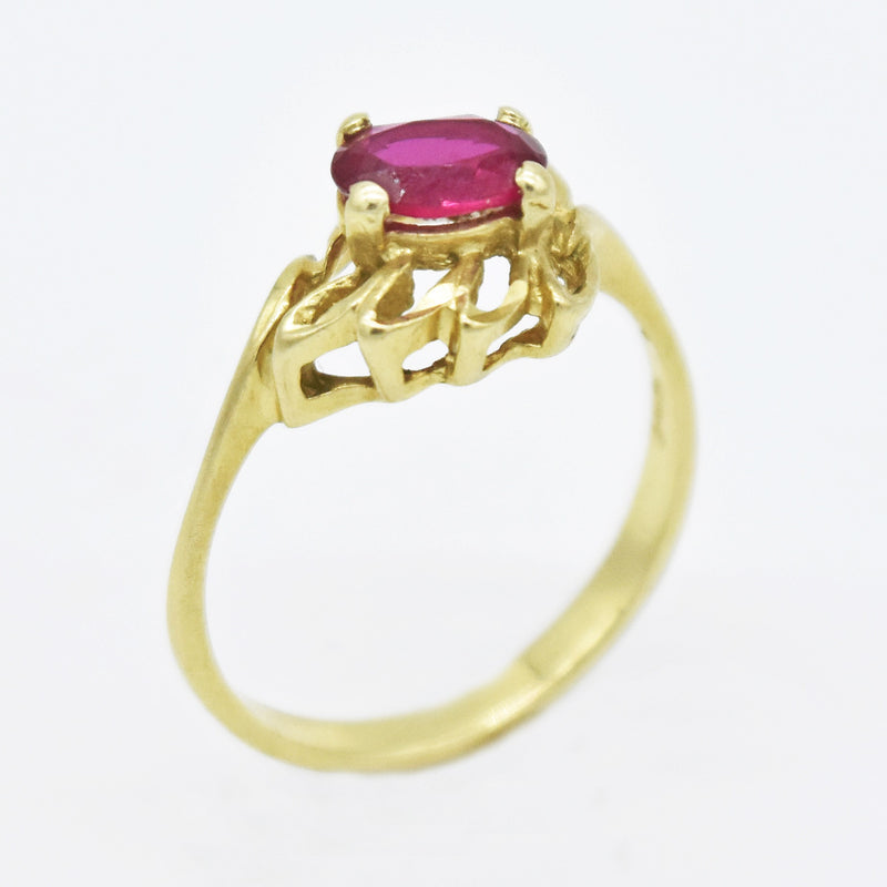 14k Yellow Gold Estate Open Leaf Work Ruby Ring Size 7.75