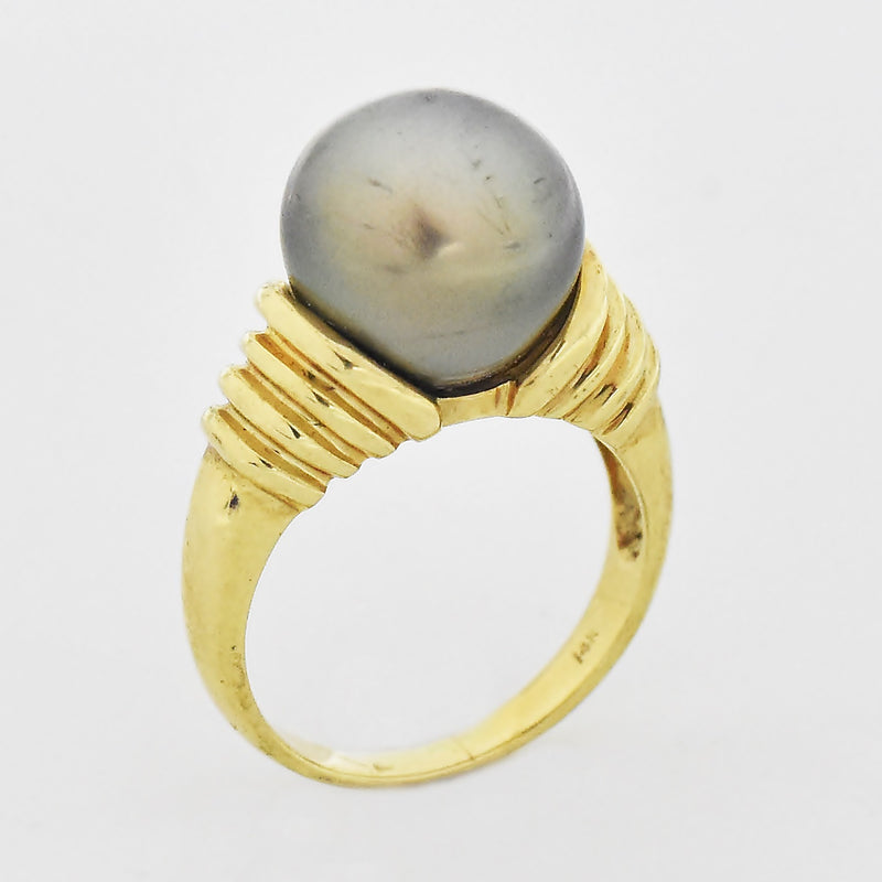 14k Yellow Gold Estate Textured Black Pearl Ring Size 6